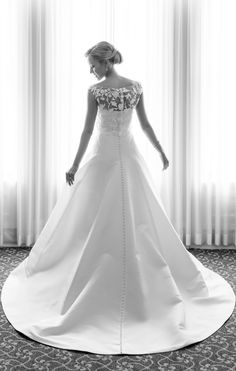 sweetheart strapless silk faille wedding dress; covered buttons down full length of the back of the bridal gown; embroidered threadwork caraco off-the-shoulder boatneck topper