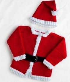 Dress your baby as Santa Claus for Christmas this year with our jolly crocheted Santa outfit. These free crochet patterns include a hat and jacket to make your child look just like Saint Nick himself! Crochet Santa, Christmas Crochet Patterns, Holiday Crochet, Crochet Bebe, Crochet For Kids, Free Crochet, Knit Crochet, Crochet Girls, Free Knitting