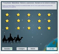 """""""Navidad con los números ordinales"""", de mundoprimaria.com, es un sencillo juego en el que hay que identificar en las imágenes un número ordinal determinado, con la Navidad como fondo."""