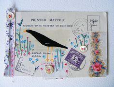original artwork on 1958 postcard by hens teeth Art Postal, Going Postal, Envelope Art, Postcard Art, Illustrations, Mail Art, Art Plastique, Vintage Postcards, Altered Art