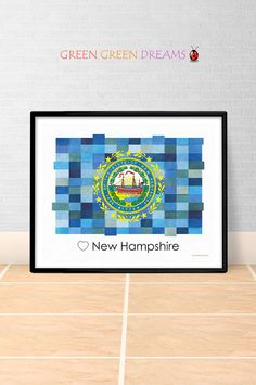 New Hampshire Flag Print Poster Wall art New Hampshire US State flags NH printable download Home Decor Digital Print gift GreenGreenDreams