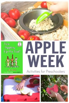 Apple themed activities for preschoolers and toddlers inspired and featuring the book Ten Apples Up on To by Dr Seuss.Come and join in each week with the Virtual Book Club for Kids just click and sign up to get weekly activity plans straight to your inbox.#appleweek #appletheme #preschoolactivities #preschoolathome #vbcforkids