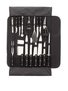 18-Piece Knife Set with Wrap (for hunting, making tools out of wood/other salvaged items, and survival combat. She can carry some with her, and leave the rest at a base camp)