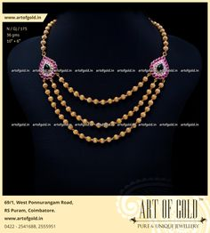 Pearl Necklace Designs, Gold Earrings Designs, Gold Jewellery Design, Gold Jewelry, Beaded Necklace, Gold Necklace, Gold Designs, Necklaces, Saree Jewellery