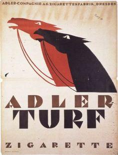 Adler Turf Cigarettes       Dore Monkemeyer-Corty (German graphic designer, 1890-1973)       Kunstbibliothek, Berlin, Berlin, Germany       1921 (creation)