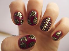 Golden roses with rhinestone accent nail