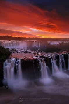 Iguazu Falls at Sunset, Brazil