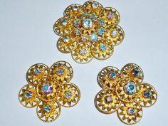 Vintage Jewelry Set LOT Aurora Borealis Brooch Earrings Gold Tone GORGEOUS!