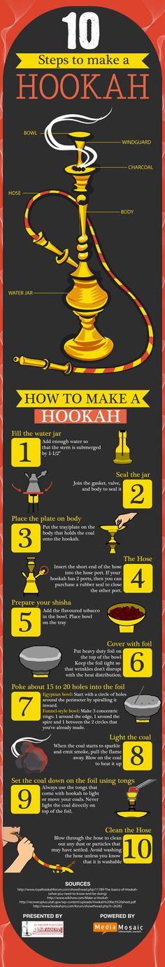 10 Steps To Make A Hookah #infographic #Hookah #Sheesha #DIY  | Come to Lux Lounge, the largest premiere upscale hookah lounge In Michigan! Your Valentine will appreciate the chill vibe and the excellent hookah choices!!!  Come to Lux Lounge in West Bloomfield, MI to relax with friends at a premiere hookah lounge in an upscale atmosphere!  Call (248) 661-1300 or visit www.luxloungewb.com for more information!