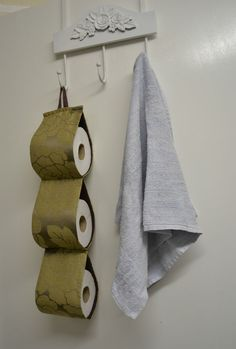Brown-gold fabric decorative toilet rolls holder storage for 3 rolls on the wall