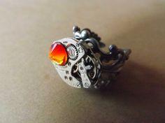 El anillo steampunk Fuego / Steamretro, joyería steampunk - Artesanio