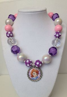 Sophia the first Chunky Necklace..Chunky Bead by GirlzNGlitter, $17.50