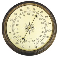 """Compass Analog Thermometer  Features: Stamped steel case with antique brass lacquered finish for use onshore Scratch-resistant acrylic lens Dial diameter: 10.6"""" Weight: 1.75 lbs. One year manufacturer's warranty  $70.00"""