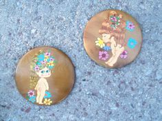 Vintage Pair Retro Flower Child Hand Painted by bettyrayvintage, $24.00