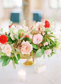 Pink and red floral wedding centerpiece - classic centerpiece with flowers and greenery - Find a wedding planner in your city on WeddingWire! {Ooh! Events}