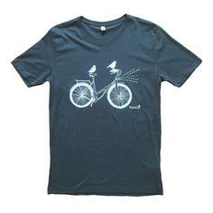 Birds on a bike Mens Dark Grey Cotton Screen Printed Tshirt
