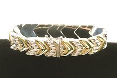 See new listings daily - follow us for updates.  Milor Sterling Silver and Gold Tone #Chevron Bracelet - #Milor -Italy - Silver and Gold Tone - Sterling Silver - #Vintage Jewelry - Vertical Chevron - Chevron - 925 - Bracelet... #jewelry #teamlove #etsyretwt #bestofetsy #925 #mimisjewelryboutique #italy
