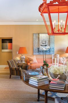 Ross Meltzer and Victor Figueredo add pops of orange throughout their Palm Beach home. Photo by Jerry Rabinowitz.