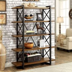Furniture of America Collins Industrial Medium Weathered Oak 5-tier Display Shelf | Overstock.com Shopping - The Best Deals on…