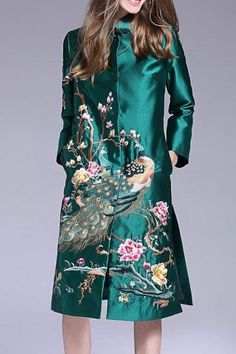 Single Breasted Peacock Embroidered Coat