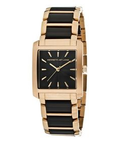 Take a look at this Black & Rose Gold Textured Stainless Steel Watch by Kenneth Jay Lane on #zulily today!