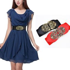1X Lady Mixed Color PU Imitation leather buckle Hollow Bronze Flower Wide belt  #yiwuwholesale