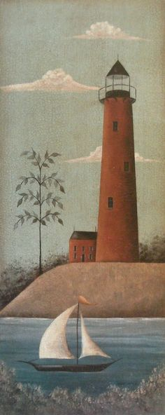 Rustic Nautical Red or White Lighthouse Sailboat Prints by