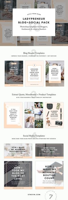 Ladypreneur Blog + Social Pack by Station Seven on @creativemarket (Tech Design Resume Templates)