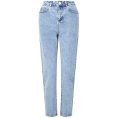 Miss Selfridge PETITE MOM Jeans ($57) ❤ liked on Polyvore featuring jeans, bottoms, pants, pantaloni, blue, petite, miss selfridge, petite jeans, blue jeans and petite blue jeans