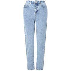 Miss Selfridge PETITE MOM Jeans (€59) ❤ liked on Polyvore featuring jeans, pants, blue, petite, petite blue jeans, miss selfridge jeans, miss selfridge, blue jeans and petite jeans