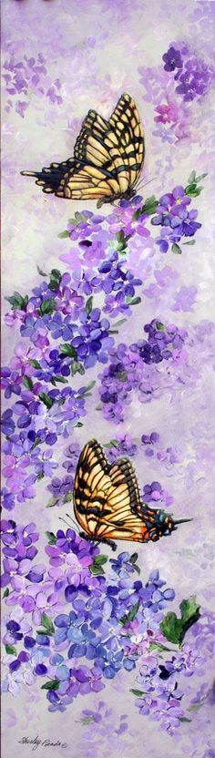 Watercolor Paintings of Butterflies | Butterflies and Lilacs painting