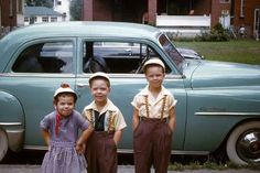 Just hanging out in the hood. photo by, Greg Groom 1953 - Columbus, Ohio  1952 Plymouth Cranbrook.