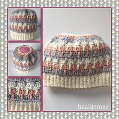 three-color messy bun beanie crochet pattern