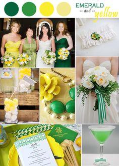 emerald green and yellow wedding ideas