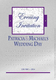 elegant evening invite available in any colour!