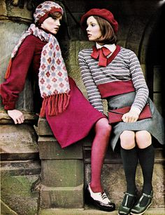 "70s vintage fashion winter wool school girl look sweater skirt beret hat red wine burgundy grey shoes tights socks bow tie scarf Seventeen Magazine, August 1973. _ ""This year's girl is different from last year's. She's more polished, more put-together and — can't get away from it — more classic."""
