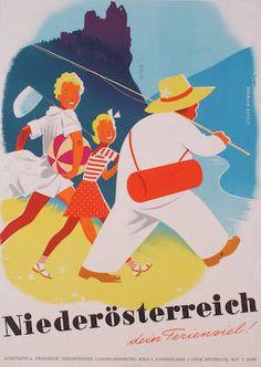 niederösterreich dein ferienziel poster by atelier walter hofmann, Retro Poster, All Poster, Vintage Travel Posters, Vintage Ads, Harry Potter Poster, Tourism Poster, Travel Ads, Austria Travel, Advertising Poster