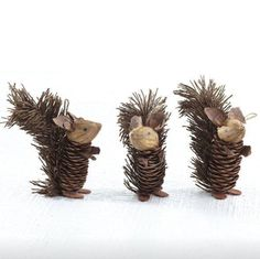 Wisteria - Holiday - Holiday Decor - Trim a Tree - Winter Pinecone Friends - Squirrels - Set of 6 Thumbnail Fun Christmas craft to make with kids Acorn Crafts, Fall Crafts, Crafts To Make, Holiday Crafts, Holiday Decor, Pine Cone Art, Pine Cone Crafts, Pine Cones, Pine Cone Decorations