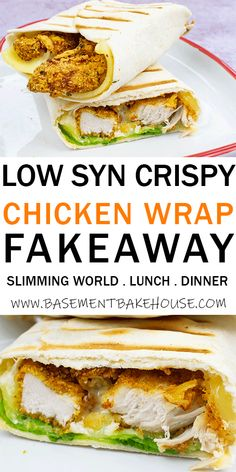 This LOW SYN CRISPY CHICKEN WRAP FAKEAWAY is the ultimate Slimming World fakeaway recipe! With super crispy chicken it& satisfy all of your fast food cravings. It& a low syn Slimming World lunch or dinner option, with just 3 syns per serving. Slimming World Fakeaway, Slimming World Dinners, Slimming World Chicken Recipes, Slimming World Diet, Slimming Eats, Slimming Recipes, Slimming World Lunch Ideas, Slimming Word, Fake Away Slimming World