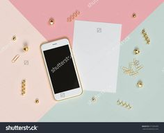 Phone and paper page flat lay mockup 3D illustration