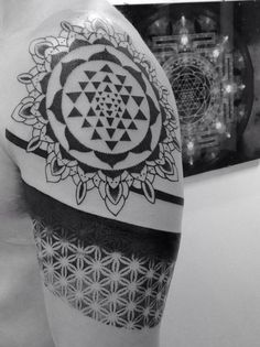 sri yantra and flower of life tattoo