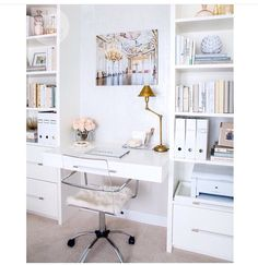 You won't mind getting work done with a home office like one of these. See these 20 inspiring photos for the best decorating and office design ideas for your home office, office furniture, home office ideas Home Office Space, Home Office Design, Home Office Decor, Office Ideas, Office Nook, Office Spaces, Desk Space, Office Inspo, Desk Areas