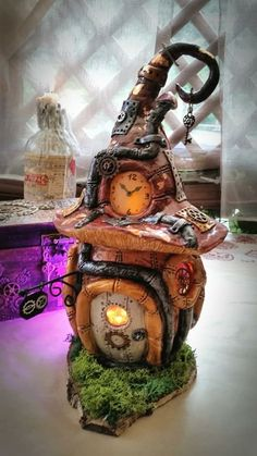 - crafts with clay Halloween Fairy, Halloween Crafts, Halloween Decorations, Clay Fairy House, Fairy Garden Houses, Fairy Gardens, Paper Mache Crafts, Clay Crafts, Paper Clay