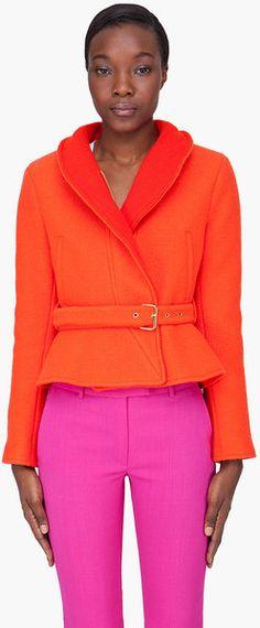 KENZO Orange Wool Peplum Jacket - Lyst #neon  ☮k☮