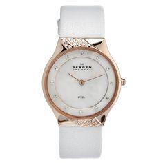 Skagen Women's Watch Leather Bracelet Mother of Pearl Dial Skagen Watches, Big Watches, Best Watches For Men, Ladies Watches, Wrist Watches, Bag Accessories, Bracelet Watch, Quartz, Stuff To Buy