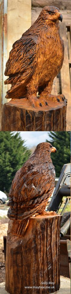 Golden Eagle Chainsaw Carving by Sally May