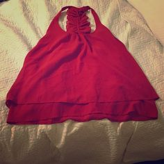 Boutique Tank with Back Ruffle Detail Red L Boutique Red Double Layer Racerback Tank with Back Ruffle and Button Detail great for summer and spring all reasonable offers and trades considered CY Tops Tank Tops