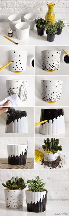 Spring is here already and we can't wait to see the trees and flowers blossom. Thus we have gathered a collection of DIY flower pots projects to help you prepare for this lovely season. The projects are all extremely easy and will bring life, color and jo Diy Flowers, Flower Pots, Diy Projects To Try, Craft Projects, I Spy Diy, Diy And Crafts, Arts And Crafts, Painted Plant Pots, Diy Y Manualidades