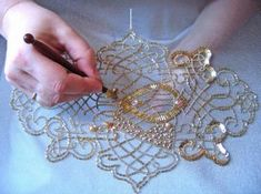 Introduction to Tambour Beading with Karen Torrisi from London - Best Do It Yourself (DIY) Ideas 2019 Bead Embroidery Patterns, Tambour Embroidery, Couture Embroidery, Silk Ribbon Embroidery, Embroidery Applique, Beading Patterns, Embroidery Designs, Bead Embroidery Tutorial, Indian Embroidery