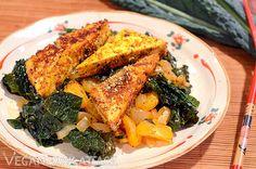 Sesame Crusted Tofu over Kale Satsuma Stir Fry #vegan